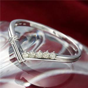 K14ダイヤリング 指輪 Vデザインリング 19号 h02