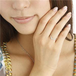 K14ダイヤリング 指輪 Vデザインリング 19号 h03