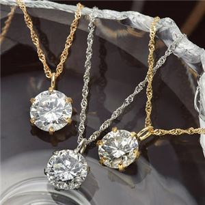 K18/0.5ctダイヤモンドペンダント/ネックレス K18YG - 拡大画像