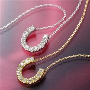K18ホースシューダイヤモンドペンダント/ネックレス WG