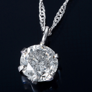 純プラチナ0.3ctダイヤモンドペンダント/ネックレススクリューチェーン(鑑別書付き)