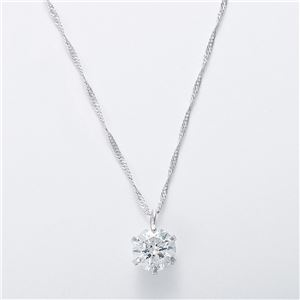 純プラチナ 0.5ctダイヤモンドペンダント/ネックレス スクリューチェーン(鑑別書付き)