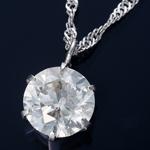 純プラチナ 1ctダイヤモンドペンダント スクリューチェーン(鑑別書付き)