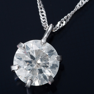 純プラチナ 0.5ctダイヤモンドペンダント/ネックレス スクリューチェーン(鑑定書付き) - 拡大画像