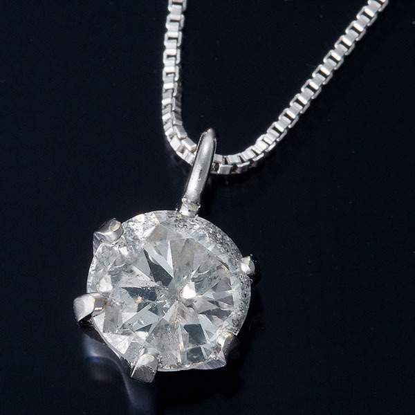 K18WG 0.3ctダイヤモンドネックレス ベネチアンチェーン 画像①