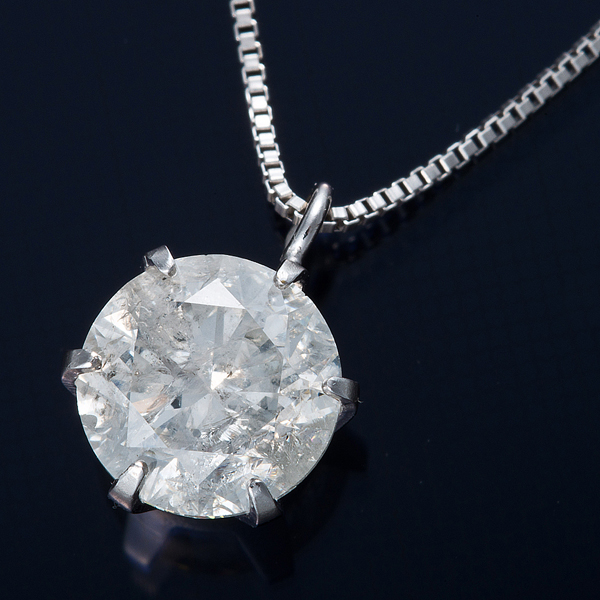 K18WG 1ctダイヤモンドネックレス ベネチアンチェーン 画像①