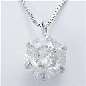 純プラチナ 1ctダイヤモンドペンダント/ネックレス ベネチアンチェーン(鑑定書付き) - 拡大画像