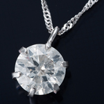 K18WG 0.5ctダイヤモンドペンダント/ネックレス スクリューチェーン(鑑別書付き)