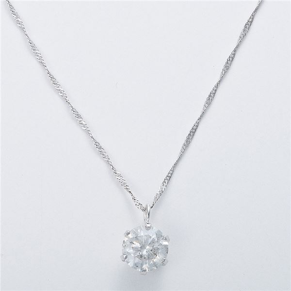 K18WG 0.7ctダイヤモンドネックレス スクリューチェーン(鑑別書付き) 画像③
