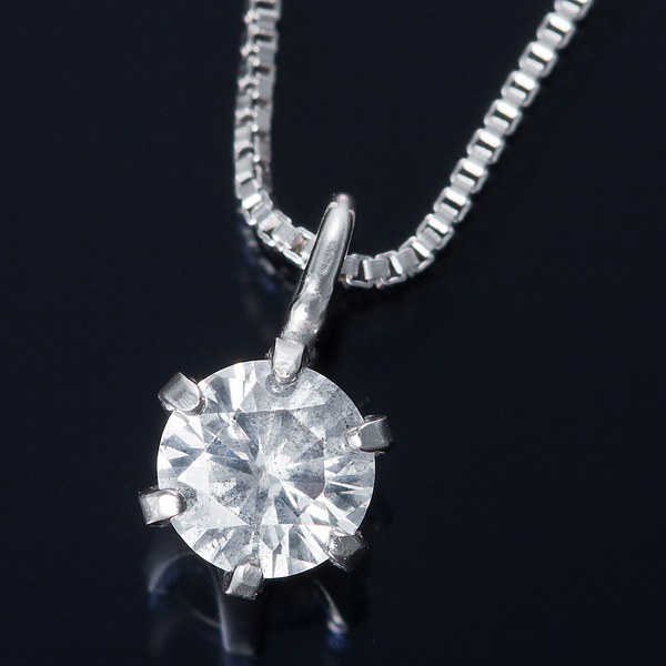 K18WG 0.1ctダイヤモンドネックレス ベネチアンチェーン(鑑別書付き) 画像①