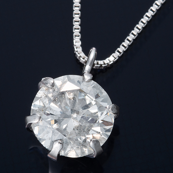 K18WG 0.5ctダイヤモンドネックレス ベネチアンチェーン(鑑別書付き) 画像①