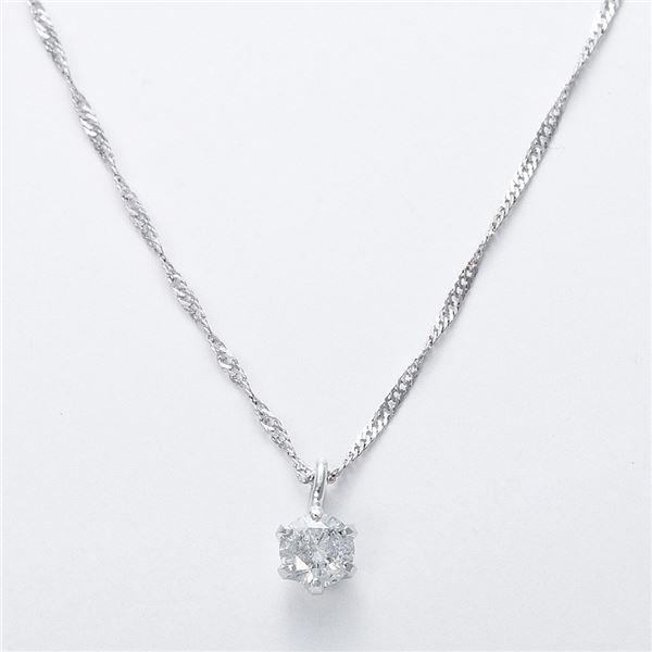 K18WG 0.1ctダイヤモンドネックレス スクリューチェーン(鑑定書付き) 画像③