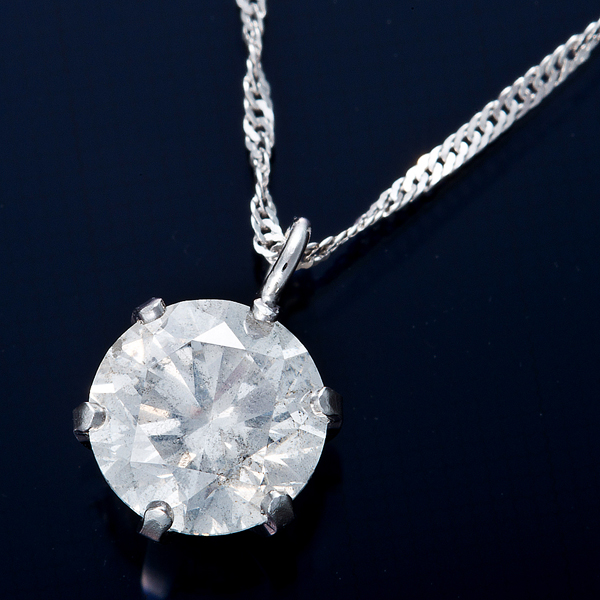 K18WG 0.7ctダイヤモンドネックレス スクリューチェーン(鑑定書付き) 画像①