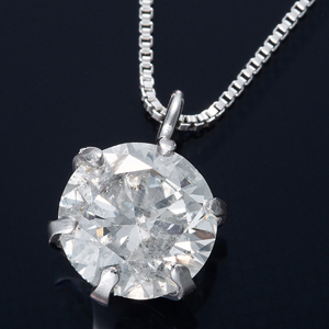 K18WG 0.5ctダイヤモンドペンダント/ネックレス ベネチアンチェーン(鑑定書付き) - 拡大画像