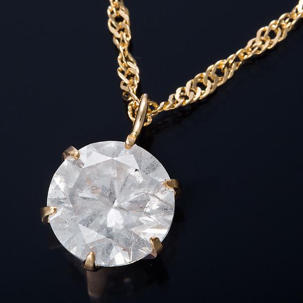 K18 1ctダイヤモンドネックレス スクリューチェーン 画像①
