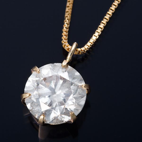 K18 1ctダイヤモンドネックレス ベネチアンチェーン 画像①