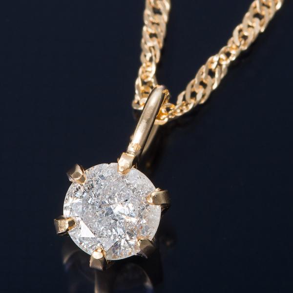 K18 0.1ctダイヤモンドネックレス スクリューチェーン(鑑別書付き) 画像①