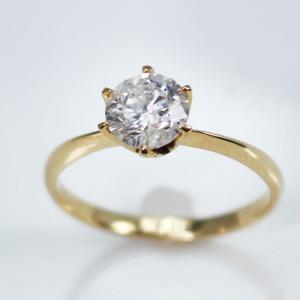 K18イエローゴールド 1.0ct一粒ダイヤリング 指輪 (鑑別書付き)  7号