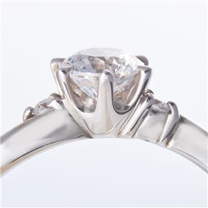Dカラー・VVS2・EX Pt0.3ct ダイヤリング 両側ダイヤモンド(鑑定書付き) 16号 h03