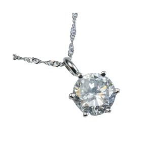 Pt900超大粒1.5ctダイヤモンドネックレス (鑑定書付き) - 拡大画像