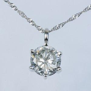 プラチナPt900 超大粒1.5ctダイヤモンドペンダント/ネックレス (鑑定書付き) h03