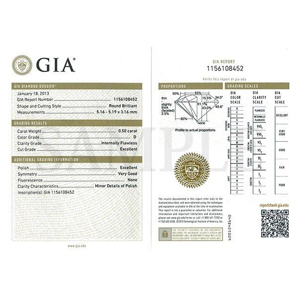 Dカラー IFクラス EXカット0.5ctダイヤモンドペンダント/ネックレス(GIA鑑定書付き)のポイント3