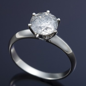 プラチナPt900 超大粒1.5ctダイヤリング 指輪(鑑定書付き)