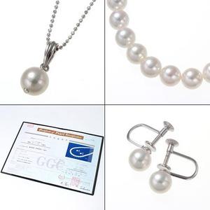 鑑別書付き 7.0~7.5mm あこや花珠真珠3点セット(イヤリングセット)