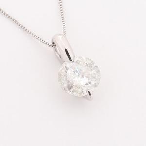 プラチナ2点留 1ctダイヤモンドペンダント/ネックレス ベネチアンチェーン(鑑別書付き) - 拡大画像