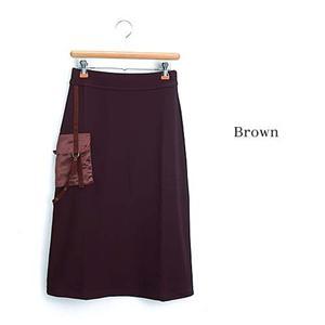 デザインAラインニットロングスカート 25410-N ブラウン 3L