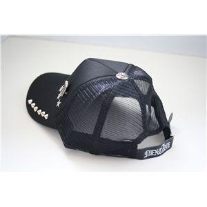 スタッズ付きクラッシュ加工CAP NA0201(黒x黒) h02