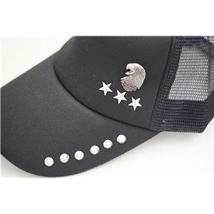 スタッズ付きクラッシュ加工CAP NA0201(黒x黒)