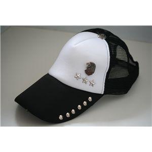 スタッズ付きクラッシュ加工CAP NA0202(黒x白)
