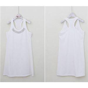 Girls-Import Mart(ガールズインポートマート)スタッズ付Yタンクワンピ ホワイト