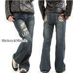 超ラブリーなミッキーアイテム♪Mickey&Minnie デザインデニムパンツ ネイビー M 画像1