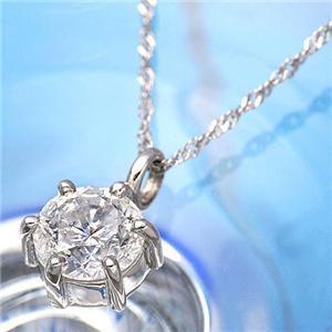 K18WGダイヤモンド0.5ctペンダント - 拡大画像