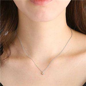 K18ダイヤモンド0.1ctペンダント(シルバーチェーン付き) ピンクゴールドの写真4