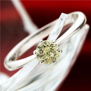 K18WGアイスカナリアダイヤモンド0.45ctリング 13号