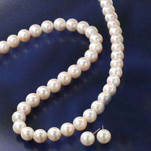 【送料無料】 大珠8~8.5mm珠 あこや真珠 パールネックレス&パールピアス 鑑別付