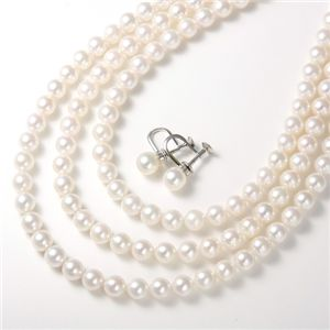 あこや真珠 パールネックレス&パールイヤリング4点セット 【本真珠】