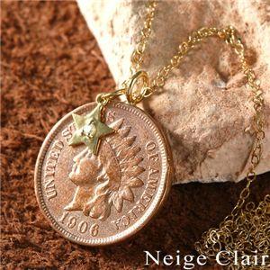 Neige Clair(ネージュクレア) K18ダイヤモンドチャーム付き インディアンコインペンダントの写真1