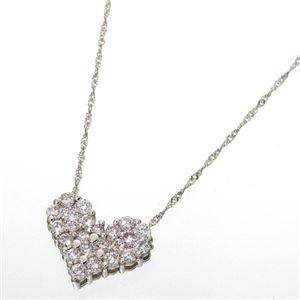 プラチナ0.5ctピンクダイヤモンドハートパヴェペンダント(鑑別付き)の写真2