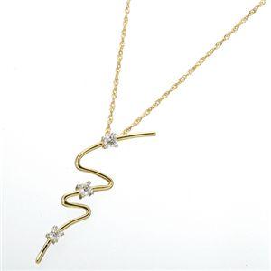 K14/YG ウェービーダイヤモンド3ストーンペンダントの写真2