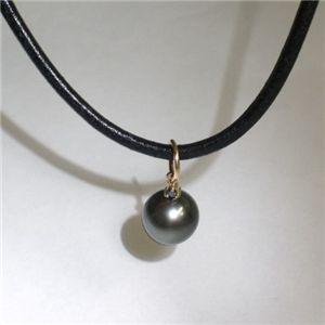 K18 タヒチ黒蝶真珠 9mm&ダイヤモンド パールペンダント ブラックダイヤ×ブラック革紐(FMPTM454) - 拡大画像