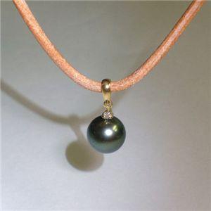 K18 タヒチ黒蝶真珠 9mm&ダイヤモンド パールペンダント ホワイトダイヤ×ベージュ革紐(FMPTM468) - 拡大画像