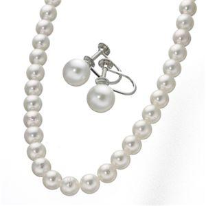 7.5mmあこや真珠ネックレス2点セットホワイトピンクカラー限定 イヤリングセット - 拡大画像