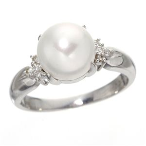 あこや真珠 8mmアップ パールダイヤリング 指輪 #7