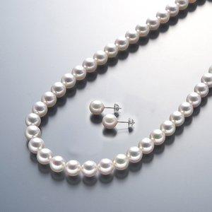 【送料無料】 真珠総合研究所 あこや真珠<花珠>8-8.5mmネックレス&ピアスセット