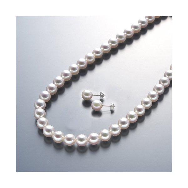 真珠総合研究所 あこや真珠<花珠>8-8.5mmネックレス&ピアスセットf00