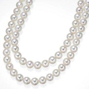 【送料無料】あこや真珠パールネックレス 6.5mm-7mm 42cm×1本、47cm×1本 パールピアス 3点セット